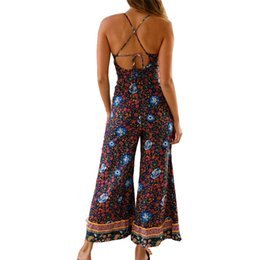 6dcb89b47610 Fashion Sexy Jumpsuit 2019 Summer Boho Beach Jumpsuits Spagehtti Strap  Backless Bandage Lace Up Rompers Flare Playsuits M0524