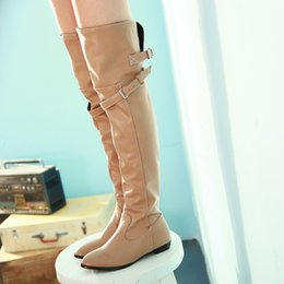 Shoes Knee High Straps Australia - Buckle Strap Over The Knee Boots Winter Flat Low Heel Pointed Toe Female Shoes Size 35-43 Botas Mujer thigh high boots women
