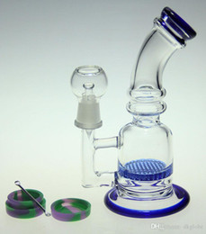 Concentrate Bongs Australia - glass bong two color glass water pipe honeycomb perc glass concentrated oil rigs with wax oil container and dabber nail