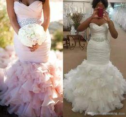 Blush Ruffle Wedding Dresses Australia - Blush Pink Wedding Dresses 2019 Plus Size Ruched With Crystals Sash With Cascading Ruffles Mermaid Oranza Bridal Gown robe de mariée