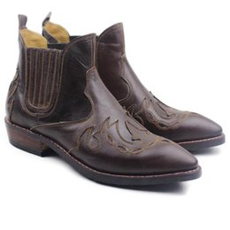 $enCountryForm.capitalKeyWord Australia - Luxury Handmade Ankle Men's Boots Cowhide Genuine Leather Work Boots Shoes Western Cowboy Botas Hombre Motocycle Short Men