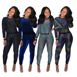 $enCountryForm.capitalKeyWord Australia - Sparkle Sequins Fabric Nightclub Bar Shinning Two piece Outfits Long Sleeves T Shirt + Pants Multicolored Casual Tracksuits Pants Sets