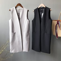 Women s formal vest online shopping - Autumn grey female long formal vest coats knee length fashion solid black covered button sleeveless casual outwears coats