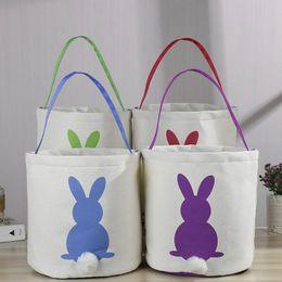 Cute Canvas Handbags Australia - New 4 color cute rabbit Easter Rabbit Basket Easter Bunny Bags Rabbit Printed Canvas Tote Bag Egg Candies Baskets Kids Handbags A3116