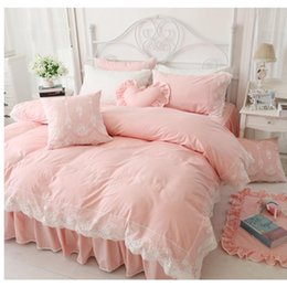 bdc51cf31a Korean Princess style cotton bedding no filling duvet cover set 3 4pcs twin full  queen king size lace bed skirt free shipping