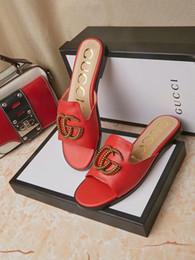 Venta al por mayor de Zapatillas de mujer de verano de alta calidad de cuero de alta calidad marca GG italiana plana cómoda sandalias de las mujeres zapatos casuales envío gratis 35-42 tamaño