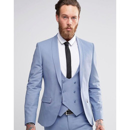 beige tuxedo l NZ - Custom Made Light Blue Men Suits Double Breasted Blazer Slim Fit Skinny 3 Piece Groom Tuxedos Wedding Suits (Jacket+Pant+Vest)