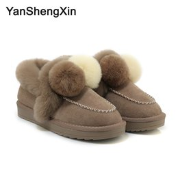 $enCountryForm.capitalKeyWord Australia - Wholesale Shoes Woman Boots Cowskin Snow Boots Warm Wool Blended High Quality Women Shoes Winter Boots Fur Ball Fashion Ankle Ladies Booties