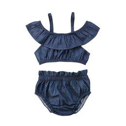 $enCountryForm.capitalKeyWord Australia - 2Pcs Suit !! Newborn Baby Girls Off Shoulder Sling Halter Tops + kids bloomers Shorts Outfits Summer Denim Clothes 0-3years