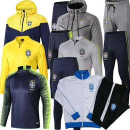 men football tracksuit Australia - TOP Quality 2019 2020 Brazil Soccer Jacket set 2018 World Cup tracksuit yellow PRE-MATCH Football jacket kit Coutinho Brazil Training suit