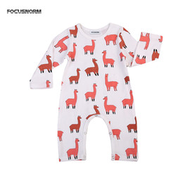 baby boy play clothes UK - cute Newborn Baby Boy Girl Alpaca Romper orange Alpaca Jumpsuit Play suit Clothes Outfits long sleeve Rompers for baby