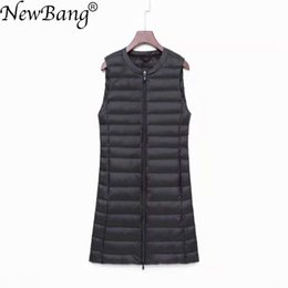 Zipper Down Vest Australia - NewBang Brand Women's Long Vest Ultra Light Down Vests Women Female Down Coat Long Slim Sleeveless Two-way Zipper Jacket