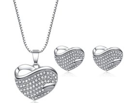 Best Christmas Gift Sets Australia - heart crystal Pendant Necklace and earring Jewelry Sets rhinestone Zircon earstud and collar for Wedding Jewelry best gifts