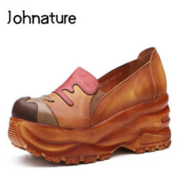 new summer wedges 2019 - Johnature 2019 New Spring And Summer Retro Personalized Genuine Leather Round Toe Platform Shoes Women Wedges Casual Sho