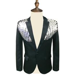$enCountryForm.capitalKeyWord Australia - Men Sequin Blazer Wing Sequin Blazer Masculino Slim Fit Suit Jacket Men Blazer Sequin Homme Gold Silver Stage Dj Stagewear