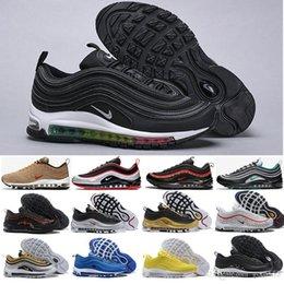 Venta al por mayor de nike air max 97 airmax  2019 Recién llegado con un estuche para hombre zapatos casuales para mujer Cushion Silver Gold Sneakers Diseñadores atléticos Deportes zapatos al
