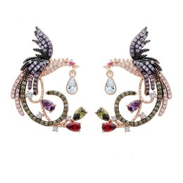 $enCountryForm.capitalKeyWord Australia - Multicolor Phoenix Bird Earrings For Girls Designer Fashion Earings 18K Gold Plated CZ Stone Stud Earrings Women Wedding Jewelry