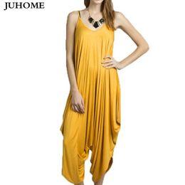 $enCountryForm.capitalKeyWord Australia - Plus Size Sleeveless Loose Sexy Party Rompers Women Jumpsuit Summer Playsuits Elegant Casual Runway Yellow Harem Pants Jumpsuit T4190612