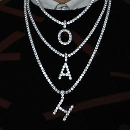 379ab6c73c4b Hip hop A-Z collar cruzado inicial para hombre joyas con oro blanco chapado  en oro cadena de tenis collar colgante de 26 letras joyería