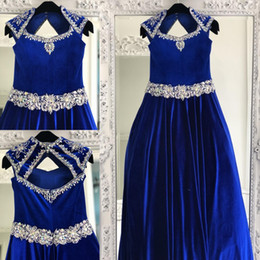 custom ball gown queens UK - Royal Blue Velvet Pageant Dresses for Teens 2020 Crystals Rhinestones Long Pageant Gowns for Little Girls Queen Anne Neck Formal Party Wear