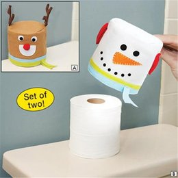 Paper Rolls Australia - 2PC LOT Merry Christmas Snowman And Elk Toilet Roll Paper Holder Bathroom Tissue Boxes Paper Cover Home Decoration