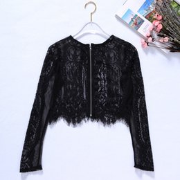 $enCountryForm.capitalKeyWord UK - Sexy Hot Lace See-through Crop Shirt Blouse Round Neck Long Sleeve Tops Zipper Back Blouse