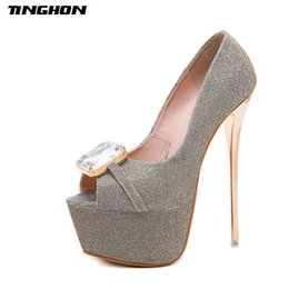 a1b02462893c Women Pumps high heels Womens Sexy Peep Toe Crystal Pumps Platform shoes  Gold Blue Black Wedding Party shoes