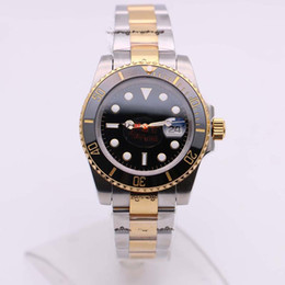 Best automatic dive watches online shopping - Best Selling LN Date Diving Two Tone Black Sapphire Dial Ceramic Bezel Floding Clasp Automatic Movement Wristwatches Mens Watches