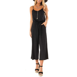 Green Jumpsuit Black Woman UK - Women Casual Sleeveless V Neck High Waisted Wide Playsuits Beach Jumpsuitcasual Streetwear Jumpsuit Summer Style Overalls Women T3190605