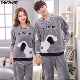 women velvet clothes NZ - High Quality Couples Thick Warm Flannel Pajama Sets for Women 2018 Winter Cute Cartoon Coral Velvet Pyjama Men Homewear Clothing