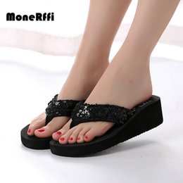 $enCountryForm.capitalKeyWord Australia - MoneRffi Summer Women Glitter Sequined Platform Thing Sandal Antiskid Wedge Heel Sandy Flip Flops Casual Beach Shoes Large Size