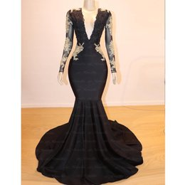 Prom Dress Strapless Black Lace Silk NZ - Black Prom Dresses 2019 Sexy Mermaid V-Neck Long Sleeve Bead Lace Evening Gowns Gold Appliques Cocktail Party Ball Red Carpet Dress