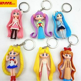 sailor moon action NZ - 6 Pcs set Creative Keychain Sailor Moon Chibiusa Mizuno Ami Hino Rei Kino Makoto Minako Aino PVC Action Collectible Model Toy 7.5CM OPP G159