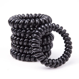 $enCountryForm.capitalKeyWord UK - 5cm Black color Telephone Wire Cord Gum Hair Tie Girls Kids Elastic Hair Band Ring Rope Bracelet Stretchy Scrunchy