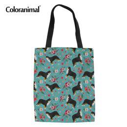 Linen Women Cloth NZ - Coloranimal Bernese Mountain Dog Flower Print Folding Canvas Tote Bag Cloth Shopper Bag Women Casual Grocery Shoulder Linen