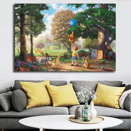 $enCountryForm.capitalKeyWord Australia - Blue balloon The Pooh Kindergarten Thomas Kinkade Cinderella Poster Painting on Canvas Bedroom Wall Art Decoration Pictures Home Decor