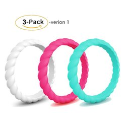 $enCountryForm.capitalKeyWord Australia - 3 pack Womens Thin Swivel Rings Stackable Silicone Wedding Rings total 15 colors for your choice