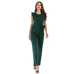 $enCountryForm.capitalKeyWord UK - Office Lady Summer Clothes Sleeveless Ruffles Slim Waist Women Jumpsuits Rompers High Quality Briefly Design Female Long Pants