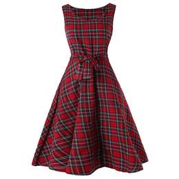 6c772736a41a wholesale Vintage Tartan Mid Swing Women Dress Bow Knot Tied High Waist  Sleeveless Retro Dress Summer Party Wear Plaid Dresses