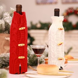 $enCountryForm.capitalKeyWord Australia - Merry Christmas Knitted Wine Bottle Set Sweater Cover Champagne Xmas Decoration for Home Dinner Party Bar New Year Table Decor