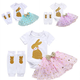 girl tight cotton short NZ - Baby Girl Easter Outfit Rabbit Print Romper Short Sleeve +Dot Tulle Tutu Skirt+Tight Pants 3 Pieces Sets Toddler Cotton Clothing