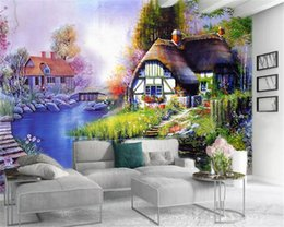 cottage home decor UK - Wallpaper 3d Fantasy Country Cottage Custom Romantic Countryside Landscape Home Decor Wallcovering HD Wallpaper