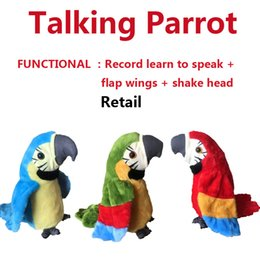 $enCountryForm.capitalKeyWord Australia - Electric parrot Plush Talking Toy Adorable Speak Record Parrot Repeats Kids Toy gift party favor Novelty Games 22cm 3 color