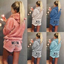 $enCountryForm.capitalKeyWord UK - Women Coral Velvet Suit Two Piece Set Autumn Winter Pajamas Warm Sleepwear Cute Cat Meow Pattern Hoodies Shorts Set 2019 New Free Shipping