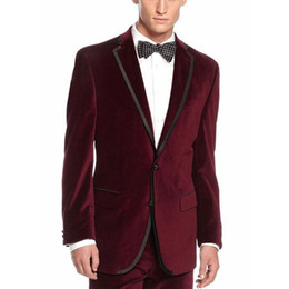 blue suit smoking NZ - Men Suits for Wedding Velvet Velvet Prom Groom Tuxedos Smoking Jacket Two Buttons Costume Homme Terno Masculino 2Piece trajes de hombre