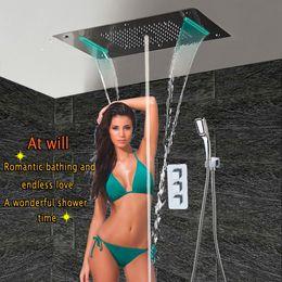 $enCountryForm.capitalKeyWord Australia - Wall Mounted Bath Shower Set with LED Ceiling Shower Head & Thermostatic Panel Luxury Bathroom Shower Rain Waterfall Bubble Mist HF5422