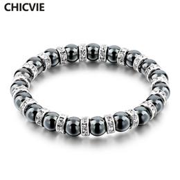 Tibetan Silver Bracelet For Men NZ - for men CHICVIE Tibetan Silver color Black Stone Strand For Men women Handmade Beaded With Stones Jewellery Bracelet Sbr160115