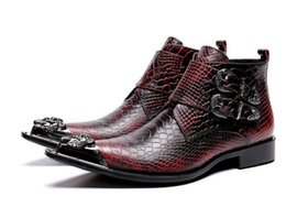 Pattern Decor Australia - Leather Men Ankle Boots Snakeskin Pattern Mixed Color Dress Boots Pointed Toe Metal Decor Buckle Strap Boots Male
