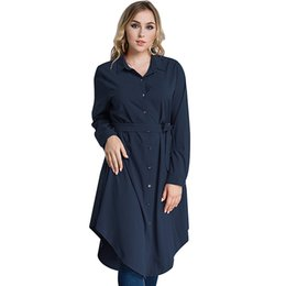 Plus Size Irregular Hem Dress UK - New Fashion Women Plus Size Shirt Dress Long Sleeve Irregular Hem Belted Solid Casual Tunic Long Blouse Top Black Red Green Blue