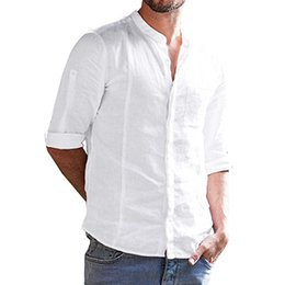 simple shirt blouse Australia - Men Simple Loose Half Sleeve Shirt Stand Collar Solid Color Pocket Tops Blouse